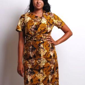 african print blouse skirt